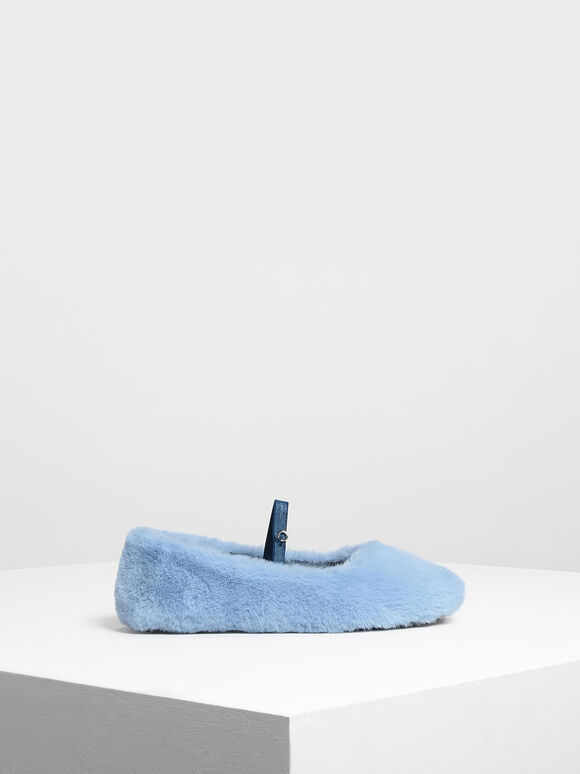 兒童毛毛瑪莉珍鞋, 藍色, hi-res