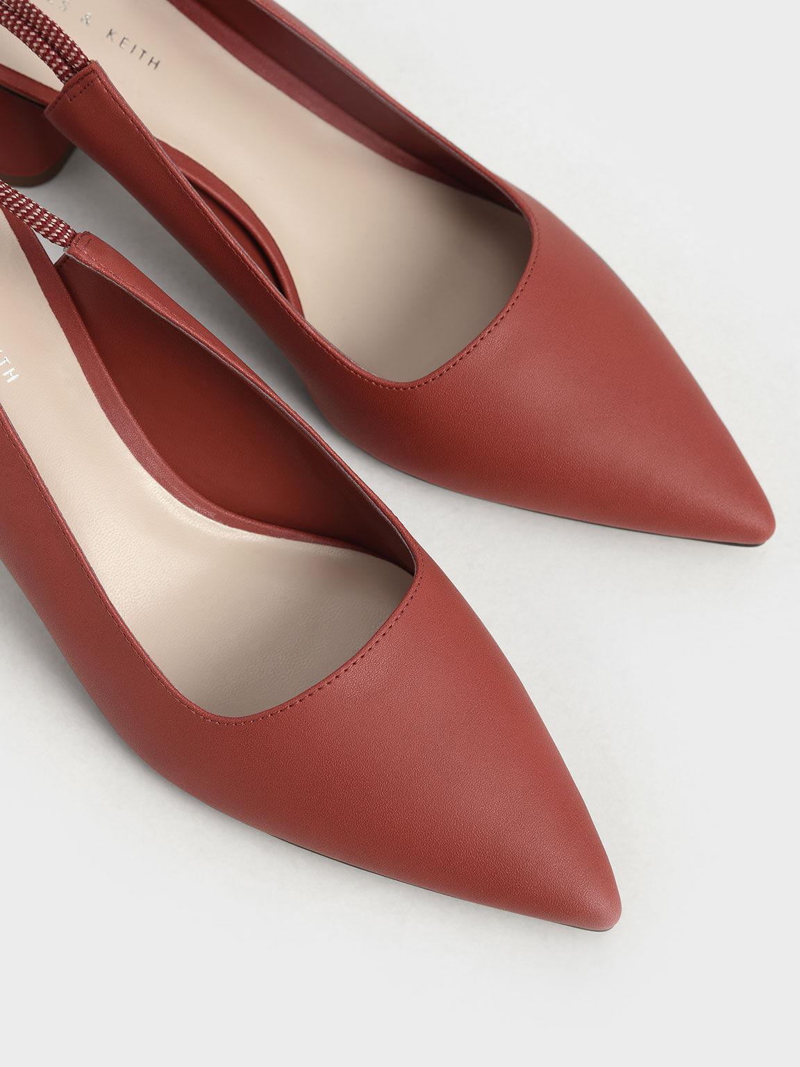 後綁帶尖頭跟鞋, 磚紅色, hi-res