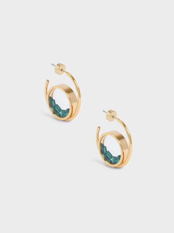 Swarovski® Crystal Emerald Stone Floating Locket Hoop Earrings, Copper, hi-res