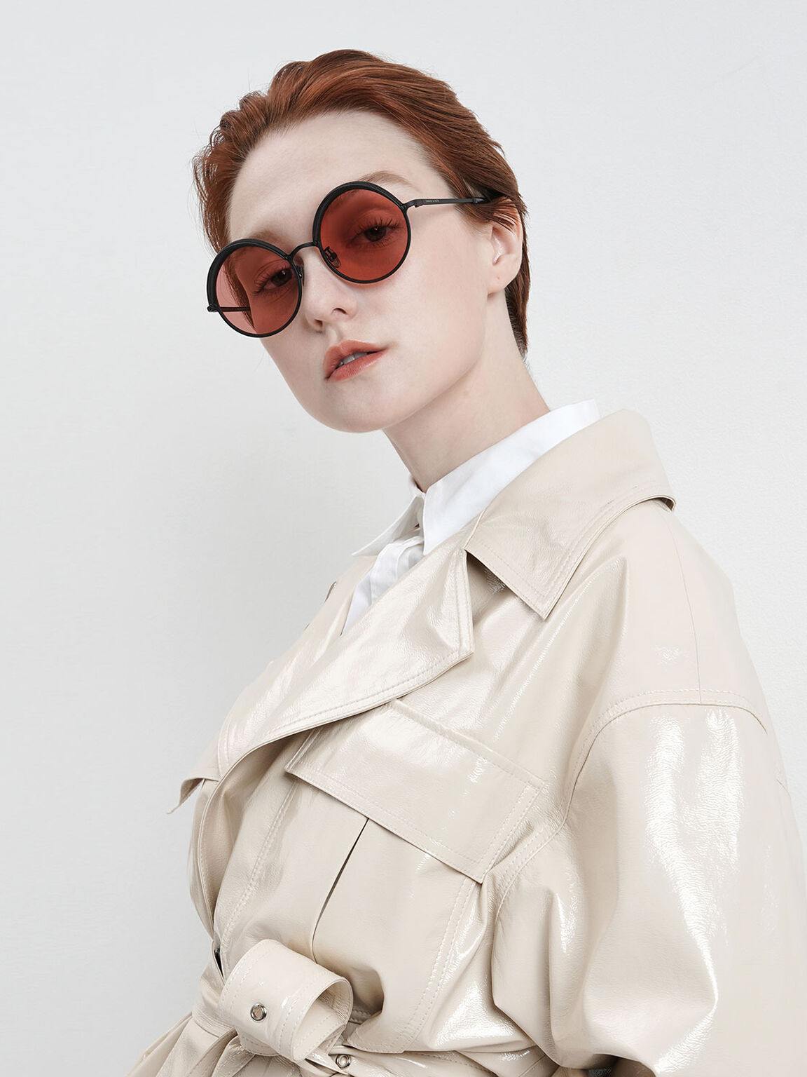 Half Rim Round Sunglasses, Red, hi-res