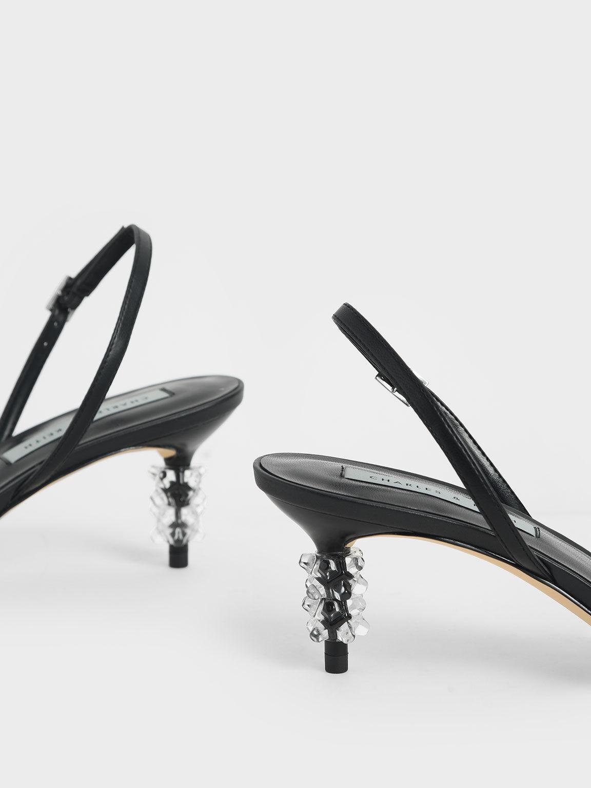 Geometric Heel Strappy Sandals, Black, hi-res