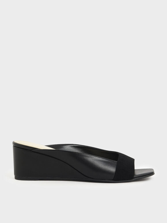 Asymmetrical Open Toe Wedges, Black, hi-res