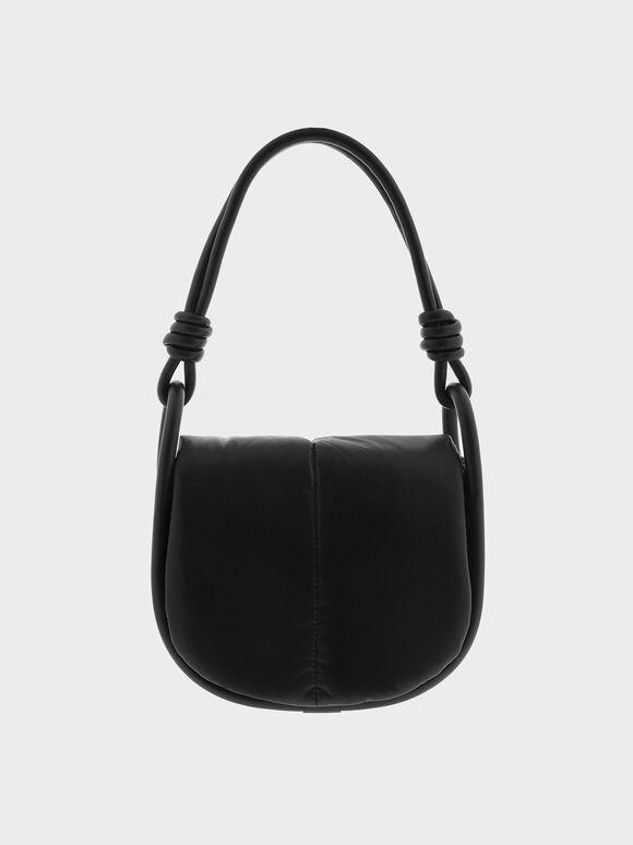 Luna Knotted Handle Shoulder Bag, Black, hi-res