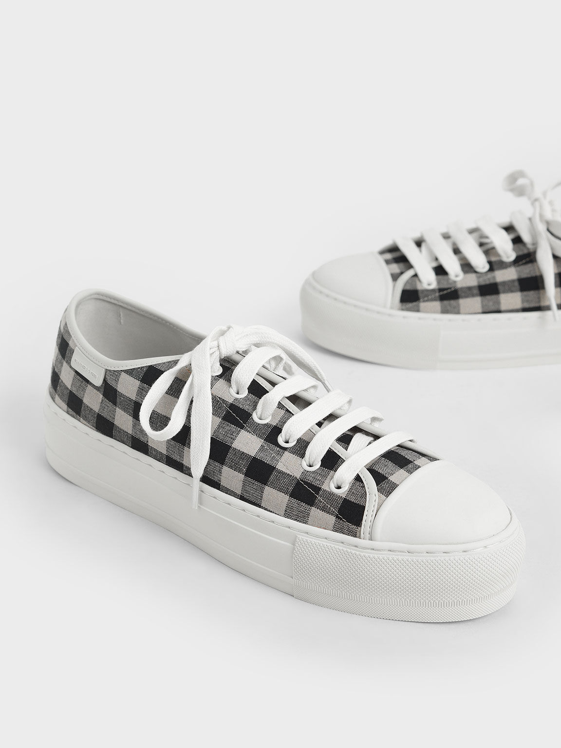Gingham Sneakers, Black, hi-res