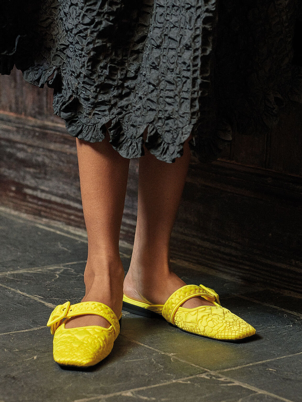 Cecilie Bahnsen X CHARLES & KEITH: Quilted Recycled Satin Camelia Mules, Yellow, hi-res