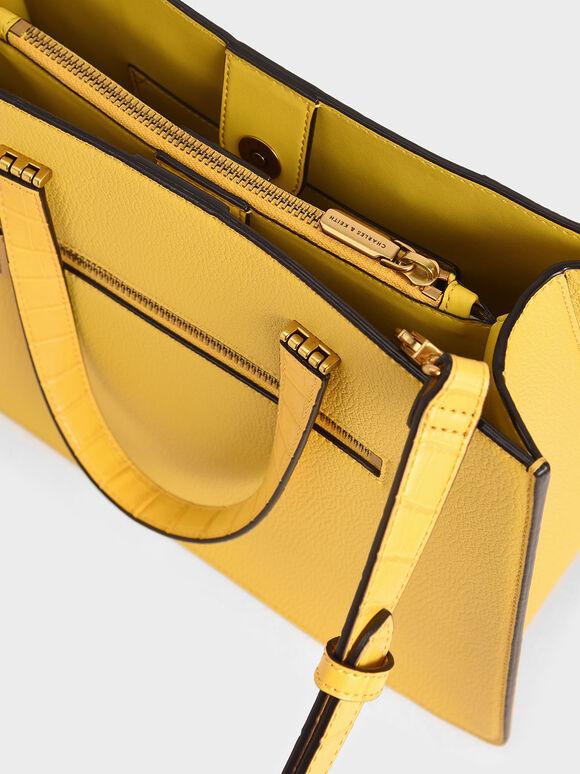 Croc-Effect Double Top Handle Tote Bag, Yellow, hi-res