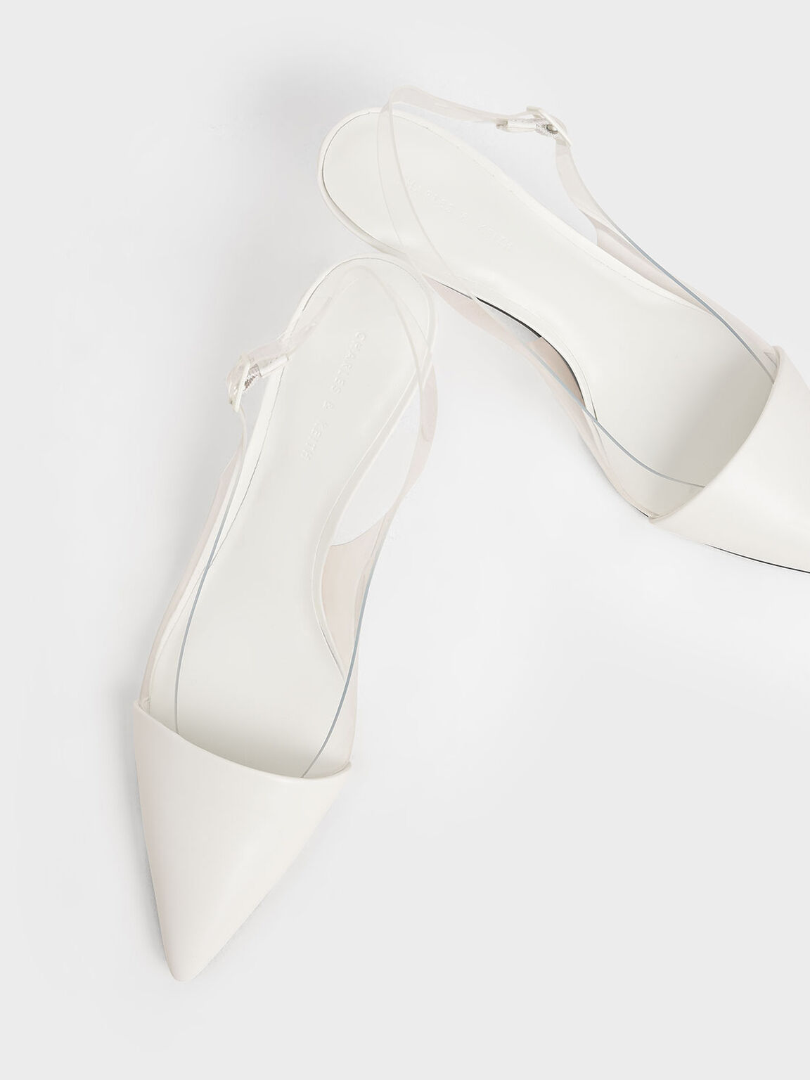 See-Through Effect Slingback Pumps, White, hi-res