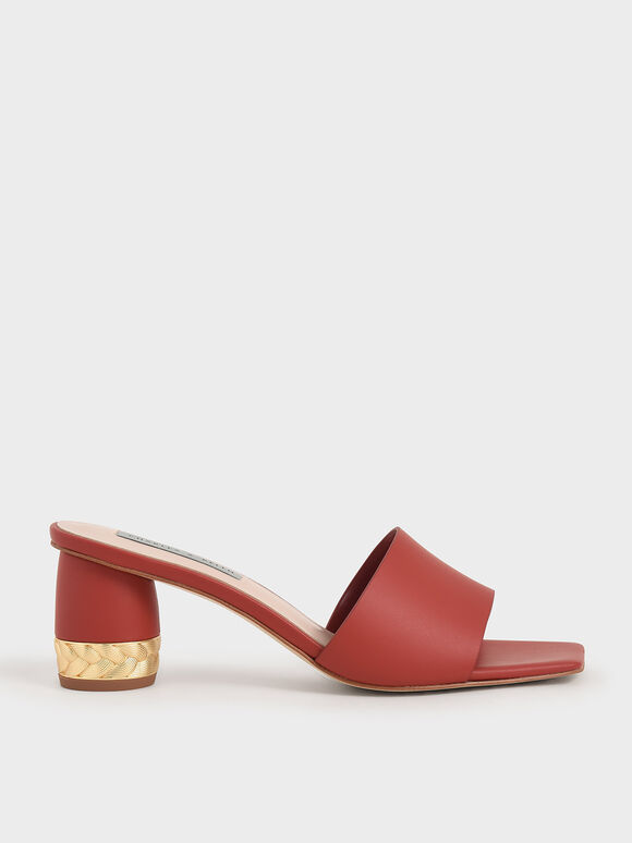 Metallic Accent Mules, Red, hi-res