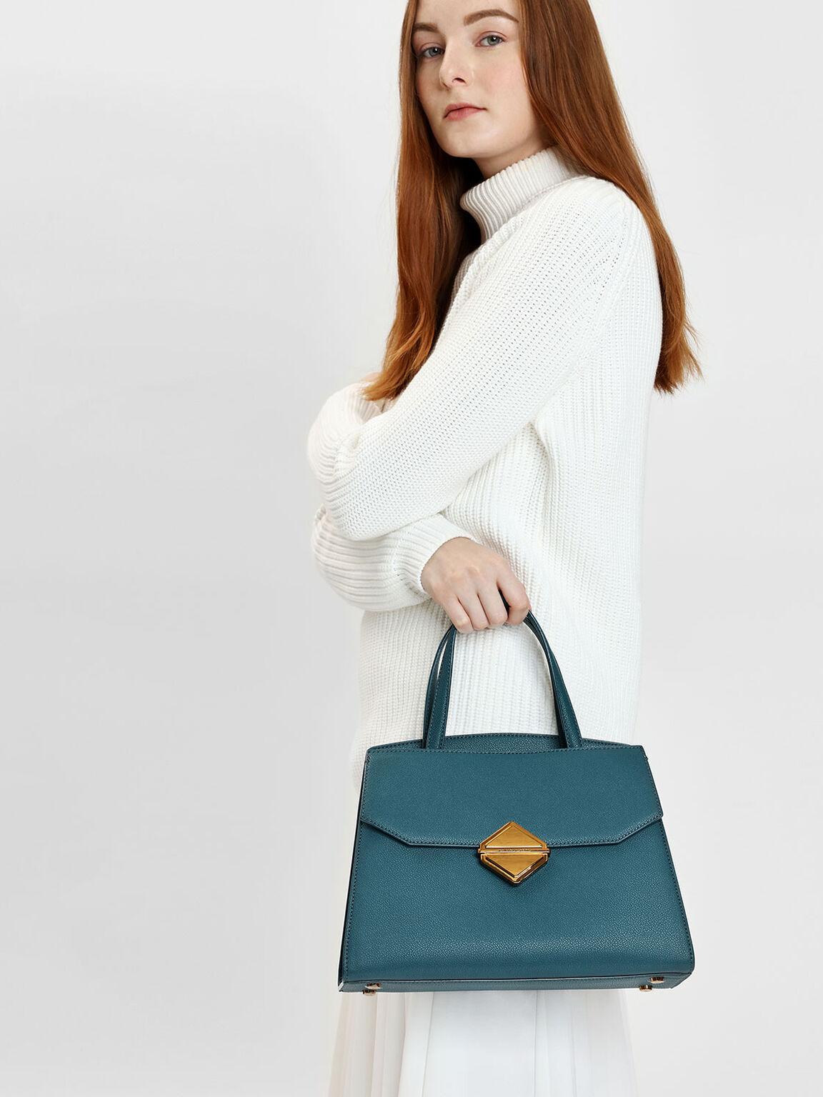 Metallic Accent Handbag, Teal, hi-res