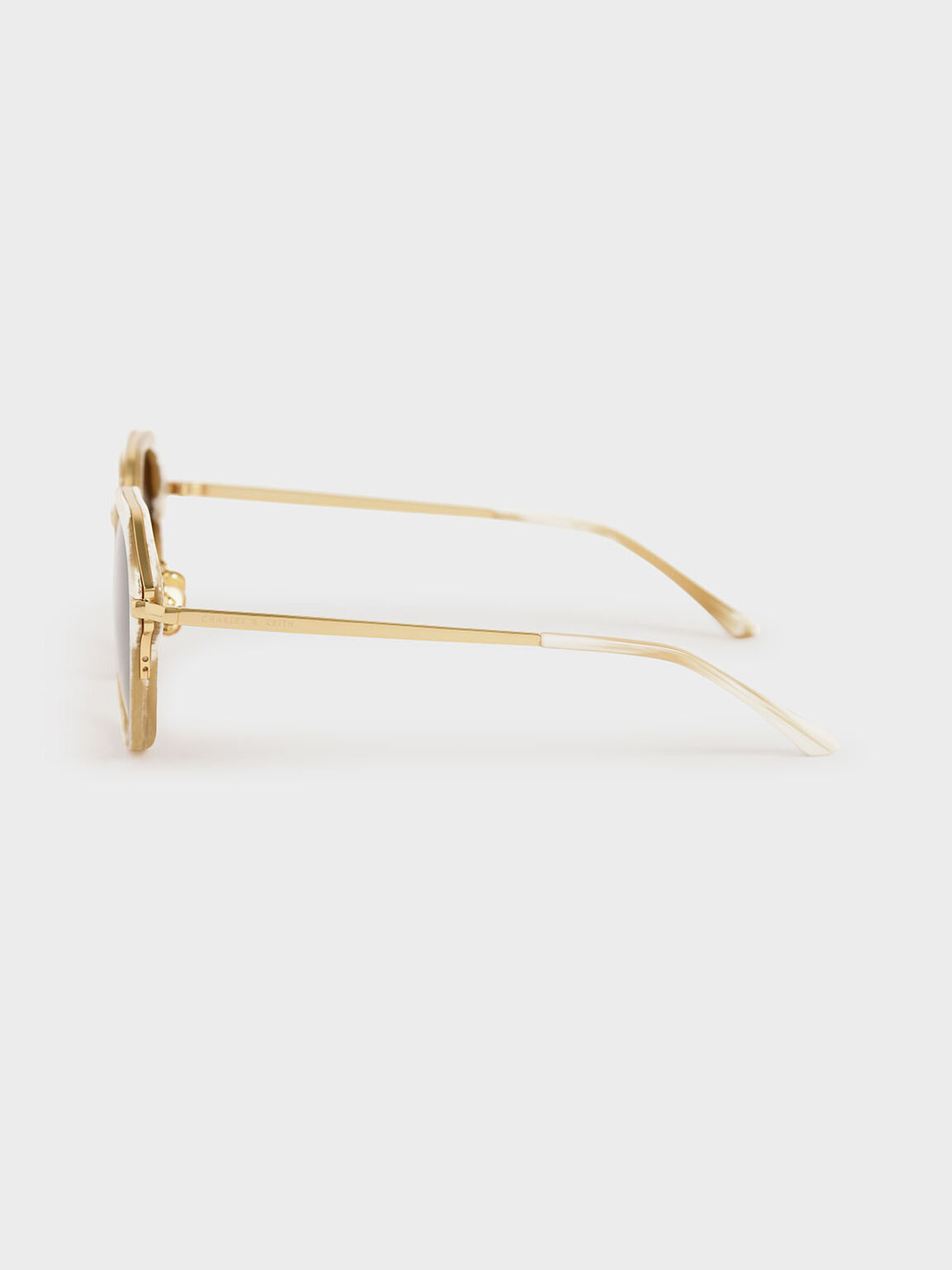 幾何膠框墨鏡, 奶油色, hi-res