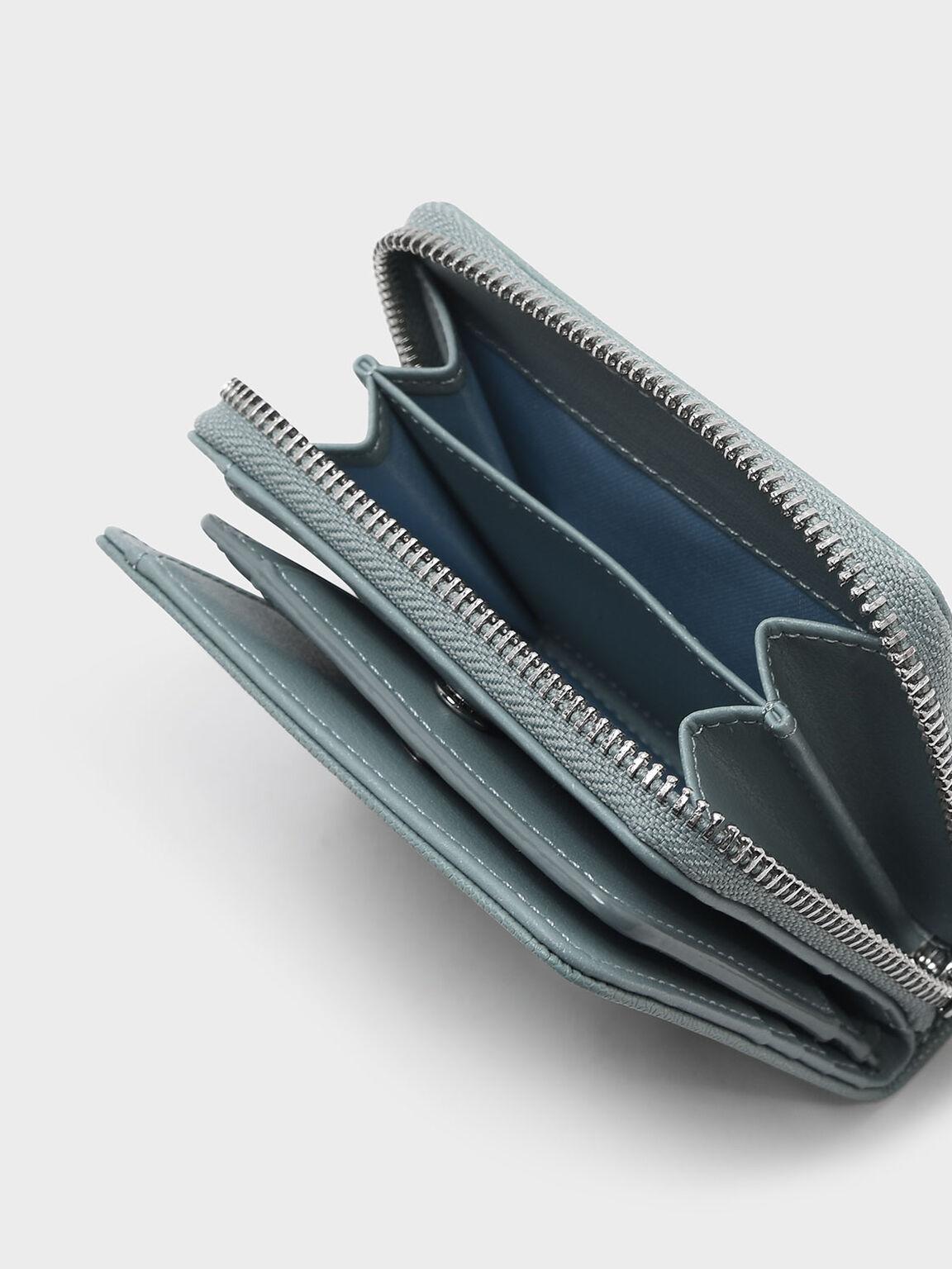 Classic Zipped Short Wallet, Slate Blue, hi-res
