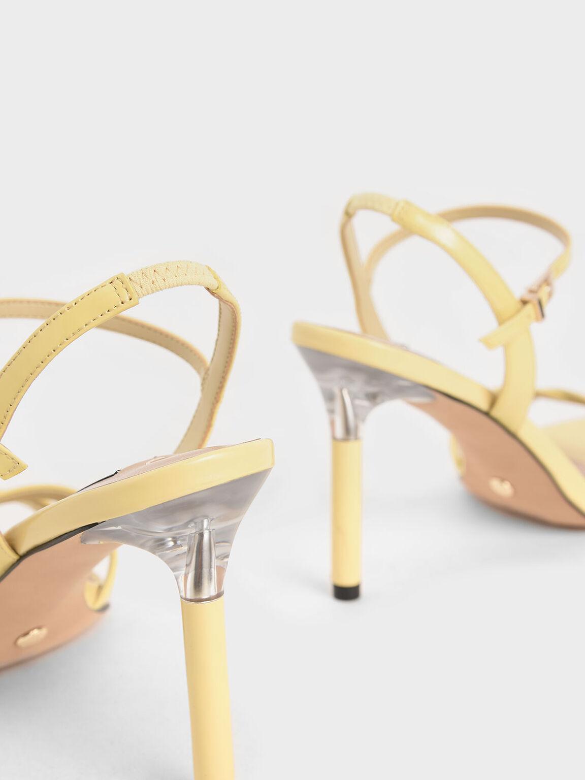 Patent Leather Criss-Cross Heels, Yellow, hi-res