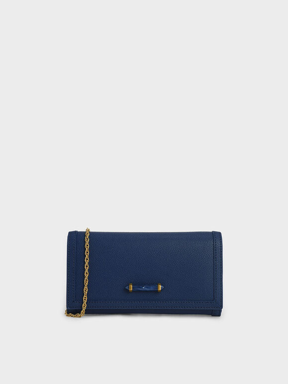 Stone-Embellished Front Flap Long Wallet, Dark Blue, hi-res
