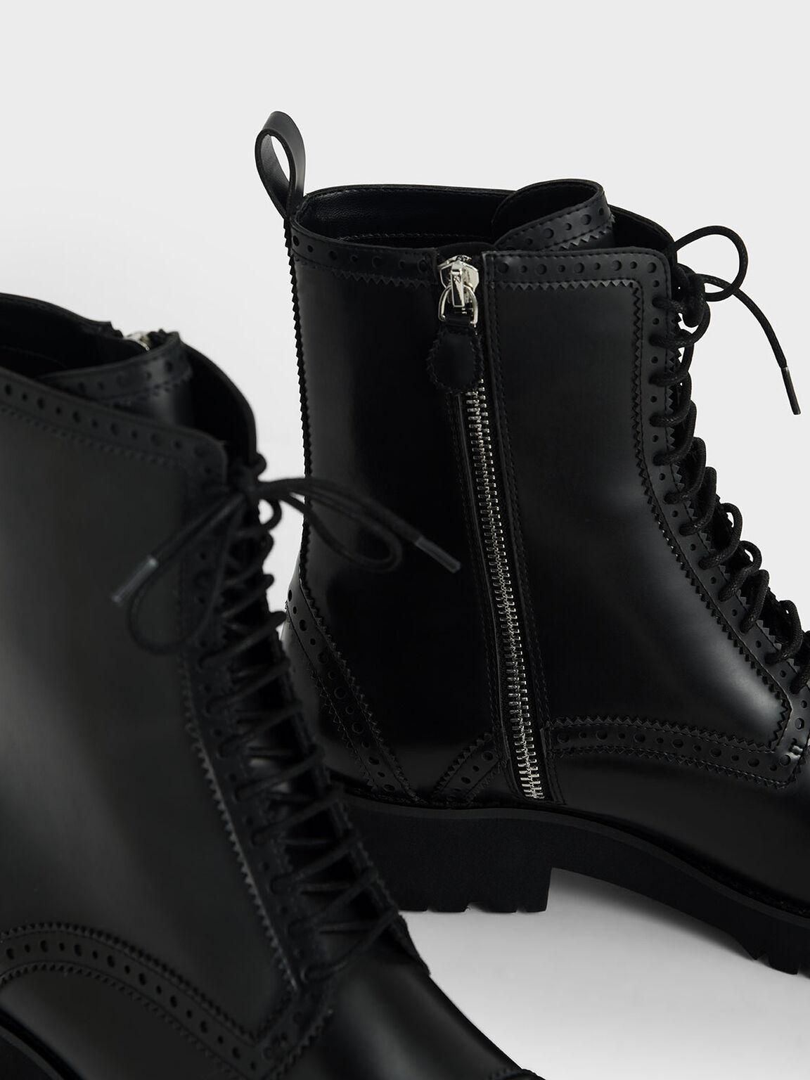 Brogue Ankle Boots, Black, hi-res