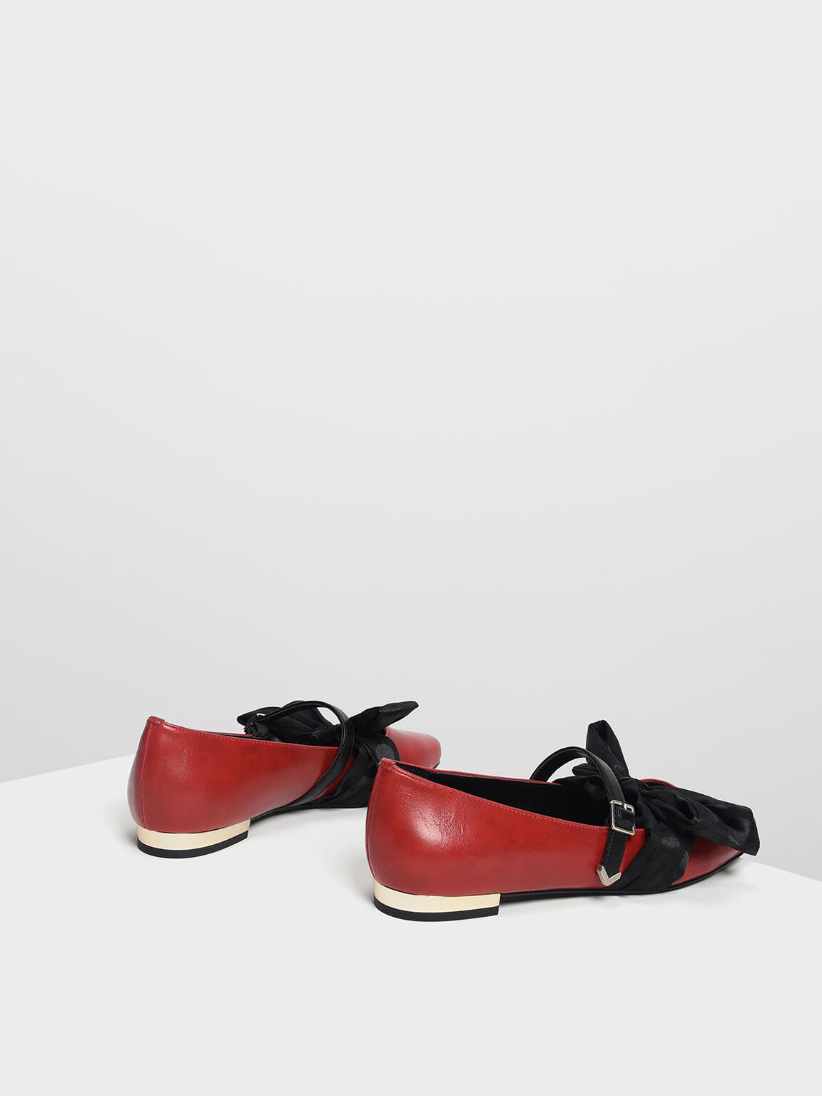 Knotted Bow Mary Jane Flats, Red, hi-res