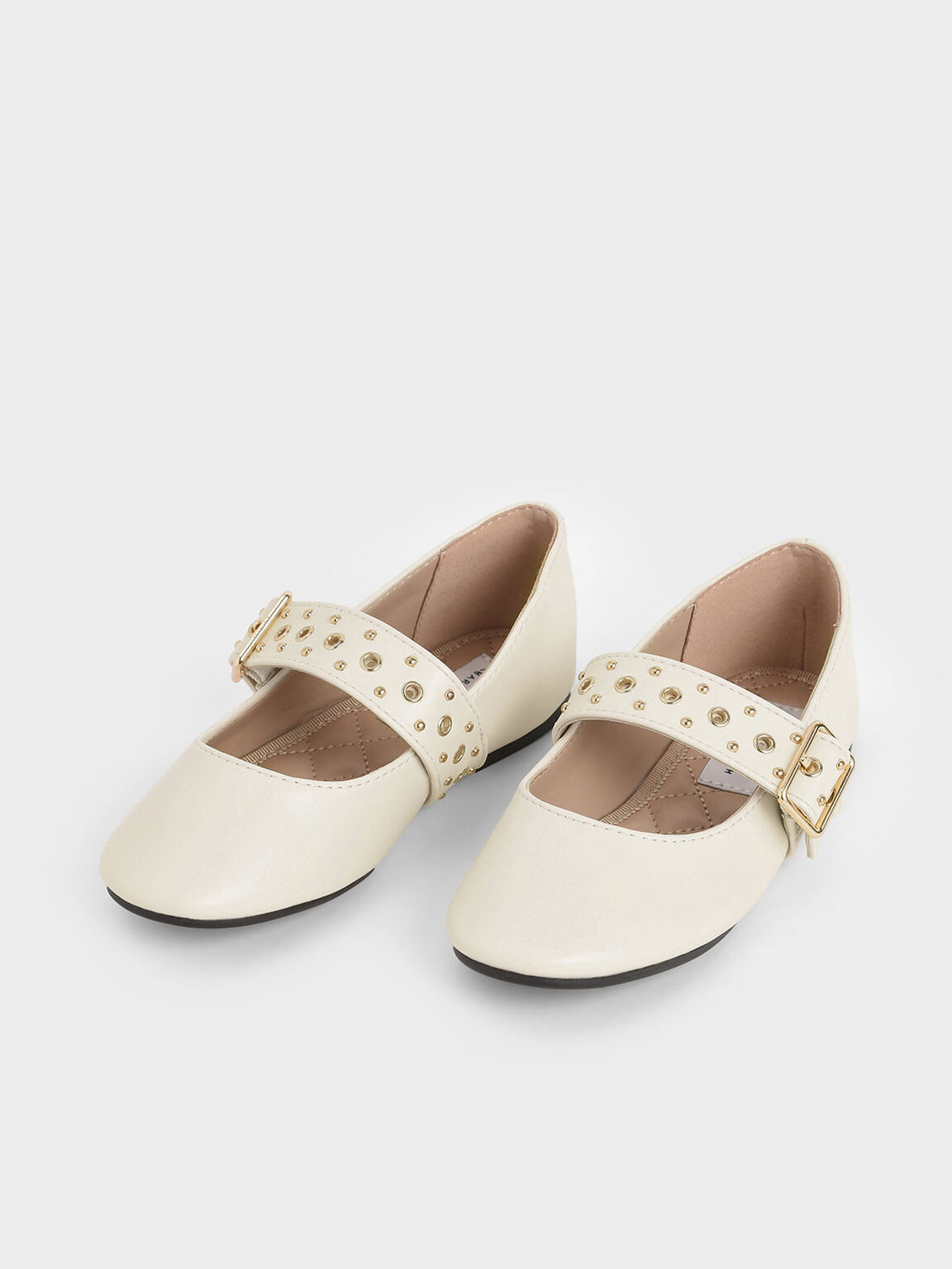 Girls' Studded Mary Jane Flats, Cream, hi-res