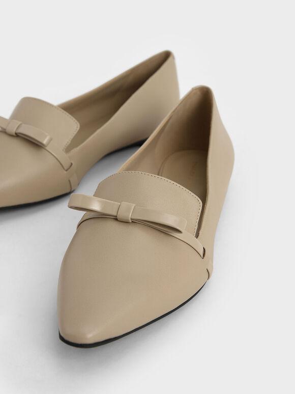 蝴蝶結尖頭平底鞋, 米黃色, hi-res