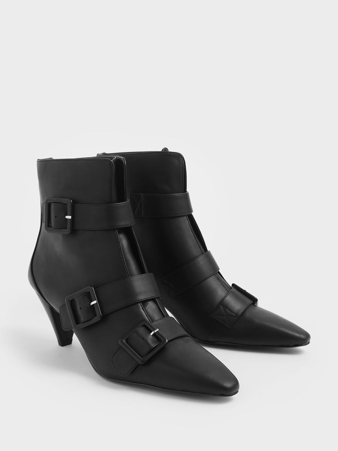 扣環低跟短靴, 黑色, hi-res