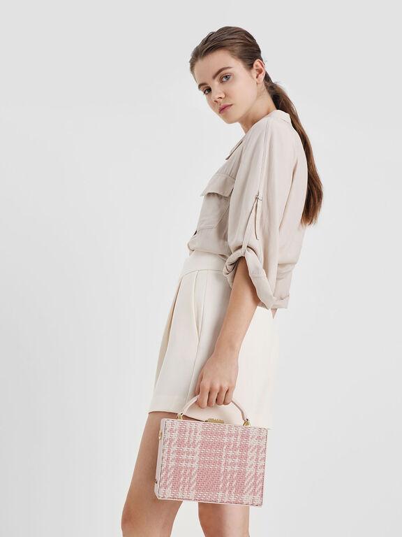 Woven Boxy Bag, Light Pink