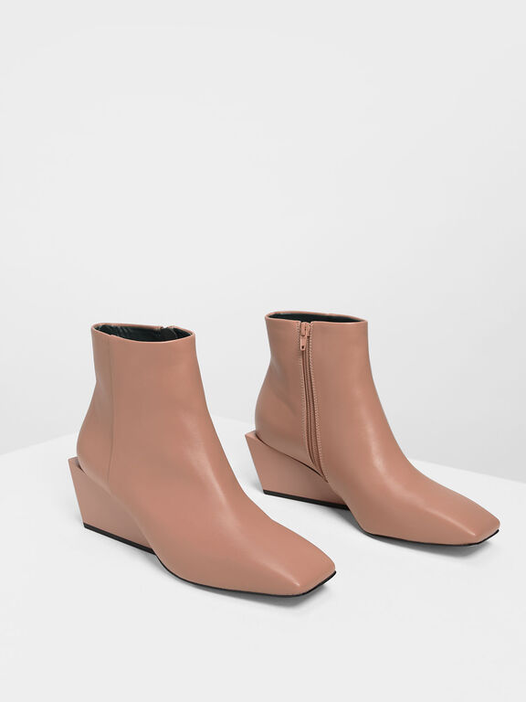 Square Toe Wedge Boots, Nude