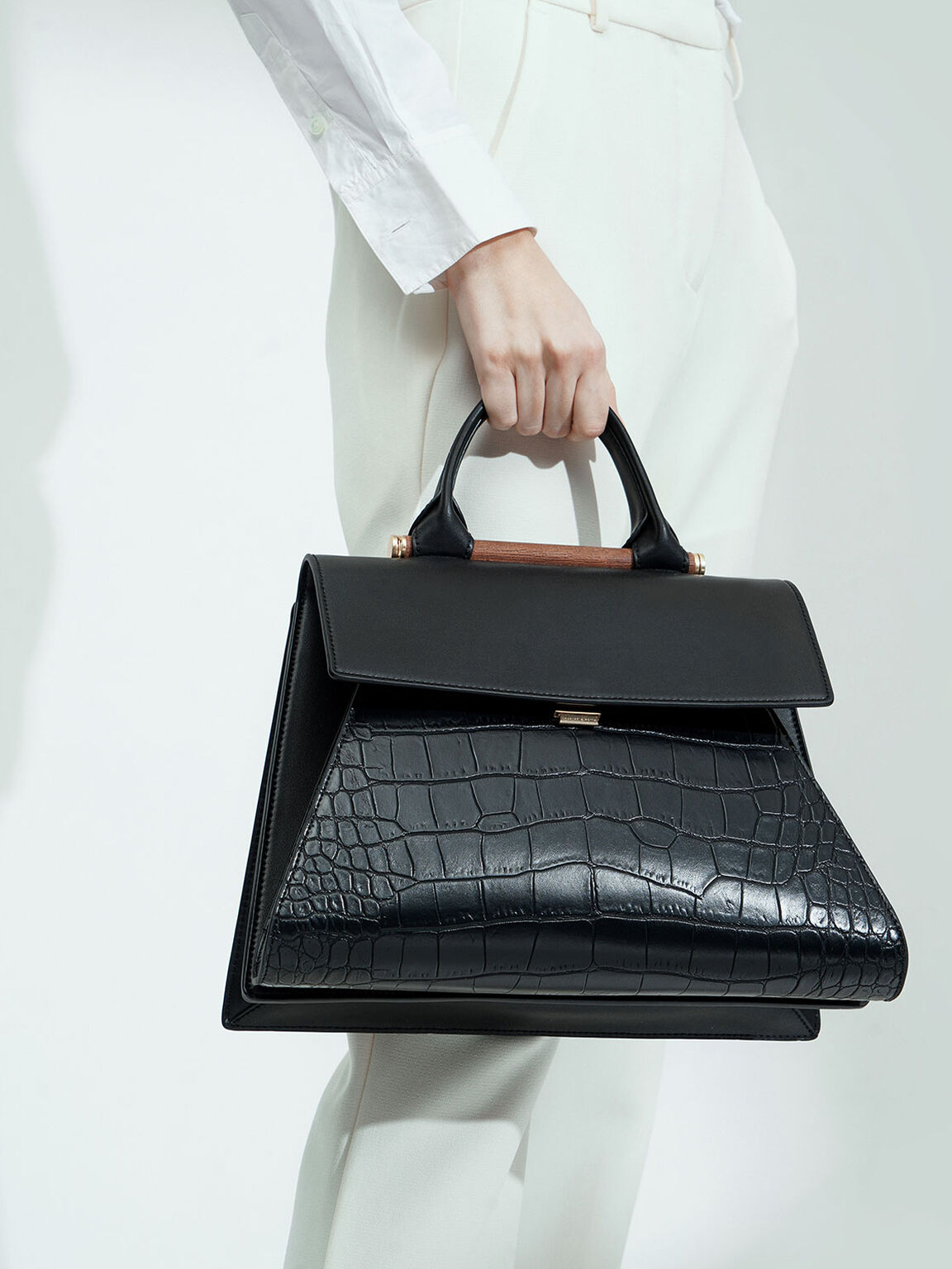 Croc-Effect Sculptural Bag, Black, hi-res