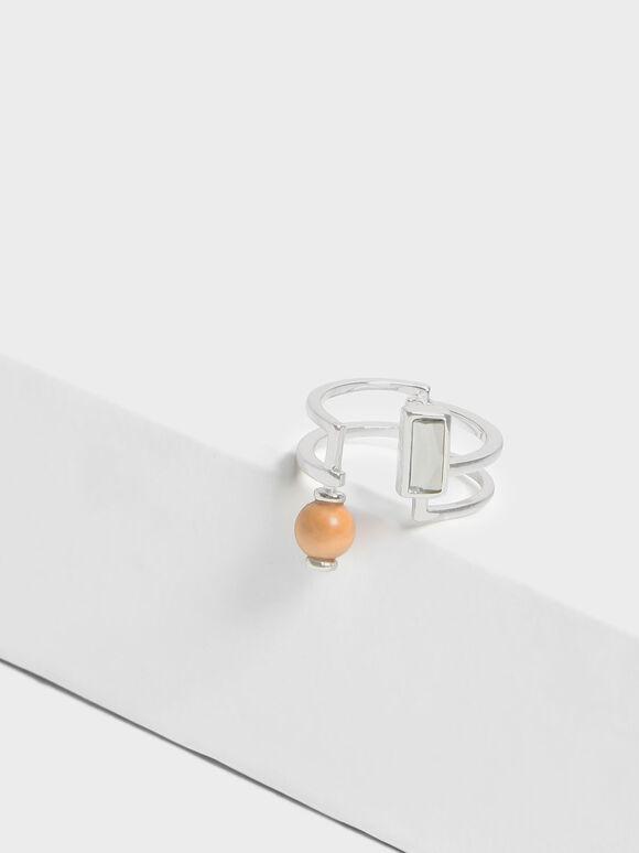 Semi-Precious Stone Wrap Ring, Silver, hi-res