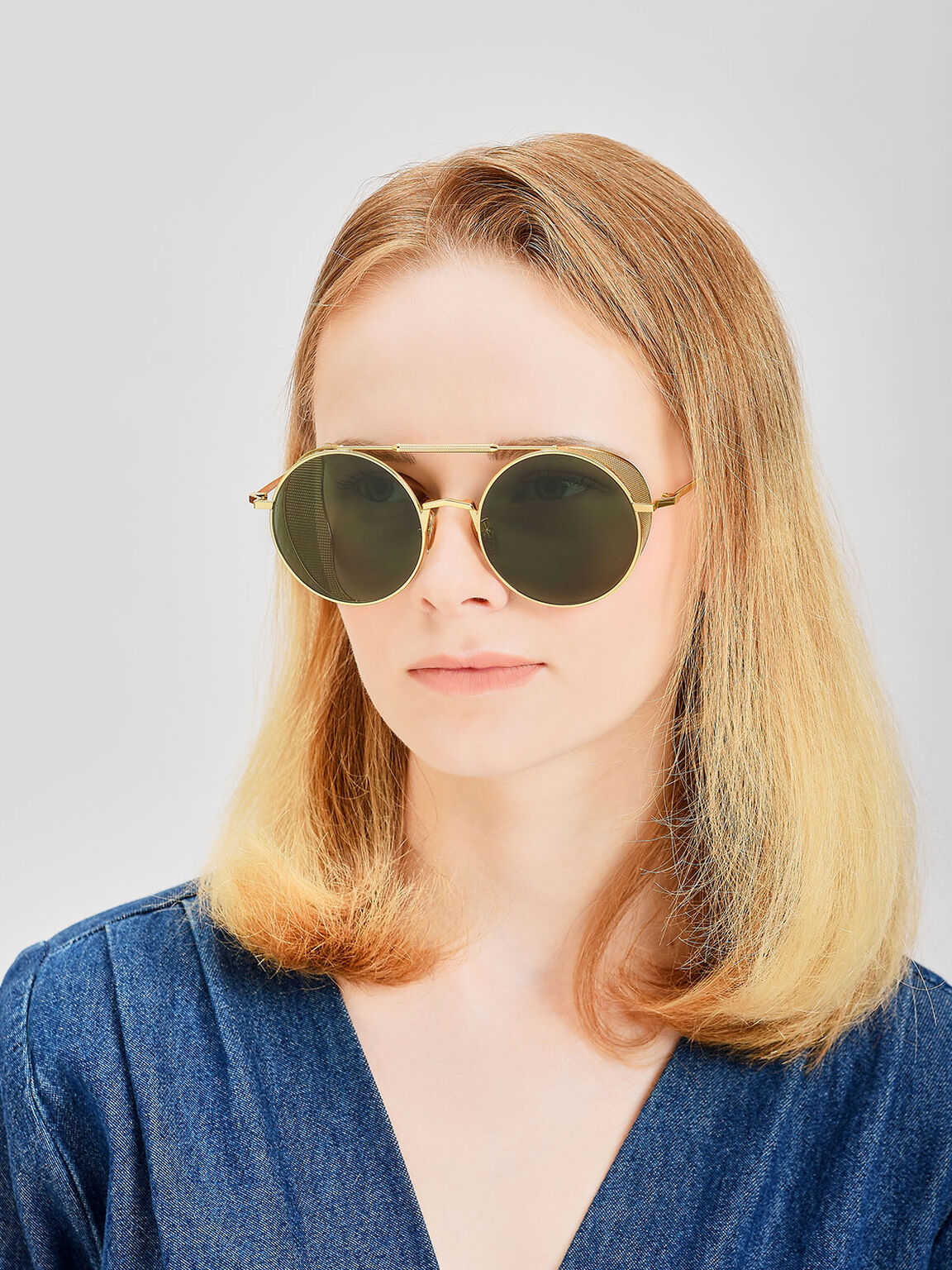Mesh Detail Sunglasses, Gold, hi-res