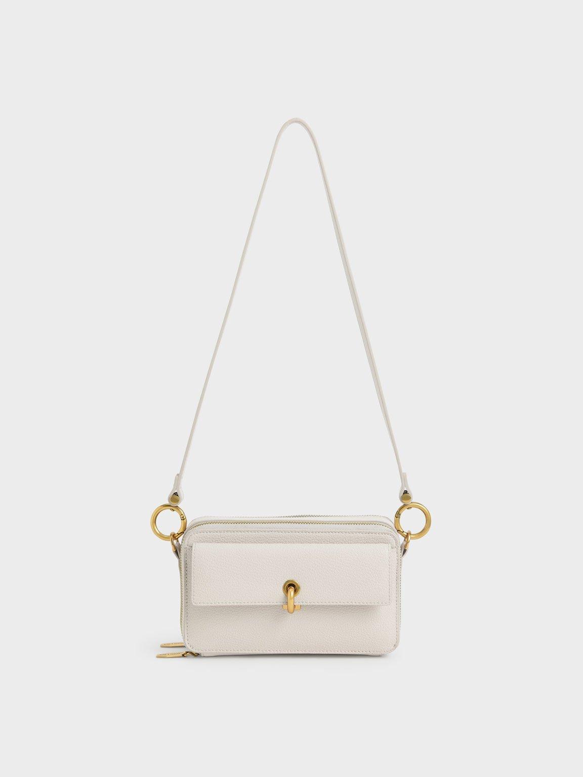 Boxy Crossbody Bag, Ivory, hi-res