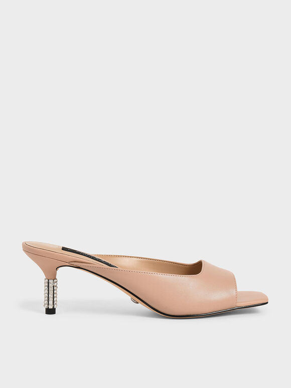 Leather Gem-Embellished Mules, Pink, hi-res