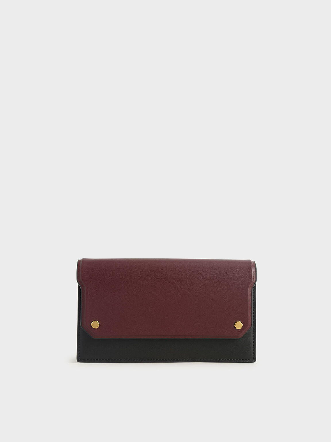 Two-Tone Mini Long Wallet, Black, hi-res