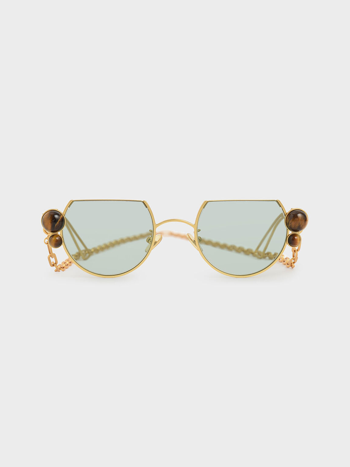 Tiger's Eye Stone Chain Link Round Cut-Off Sunglasses, Gold, hi-res