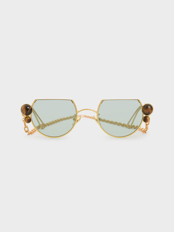 Tiger's Eye Stone Chain Link Round Cut-Off Sunglasses, Gold