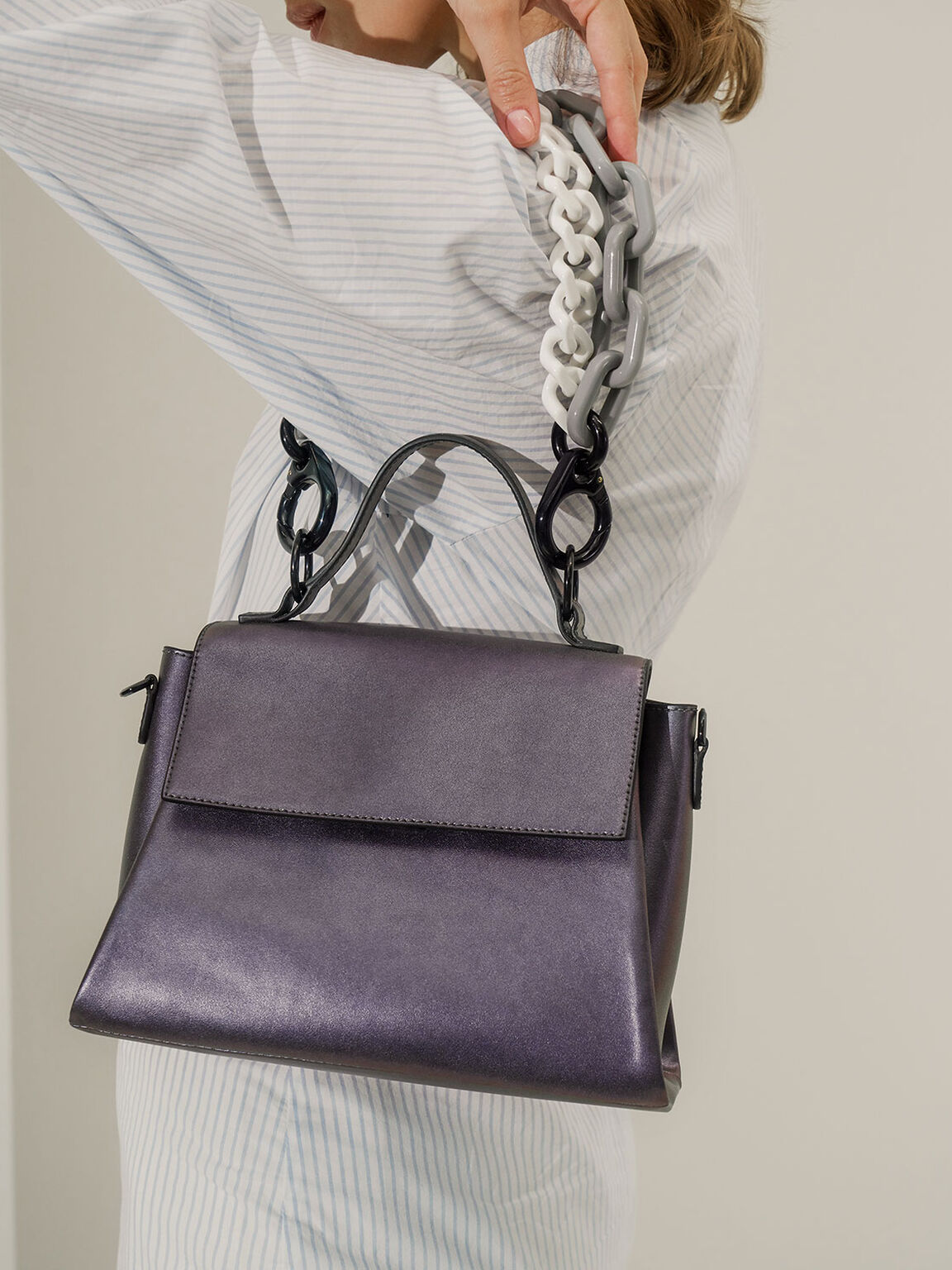 Double Chain Link Bag, Peacock, hi-res