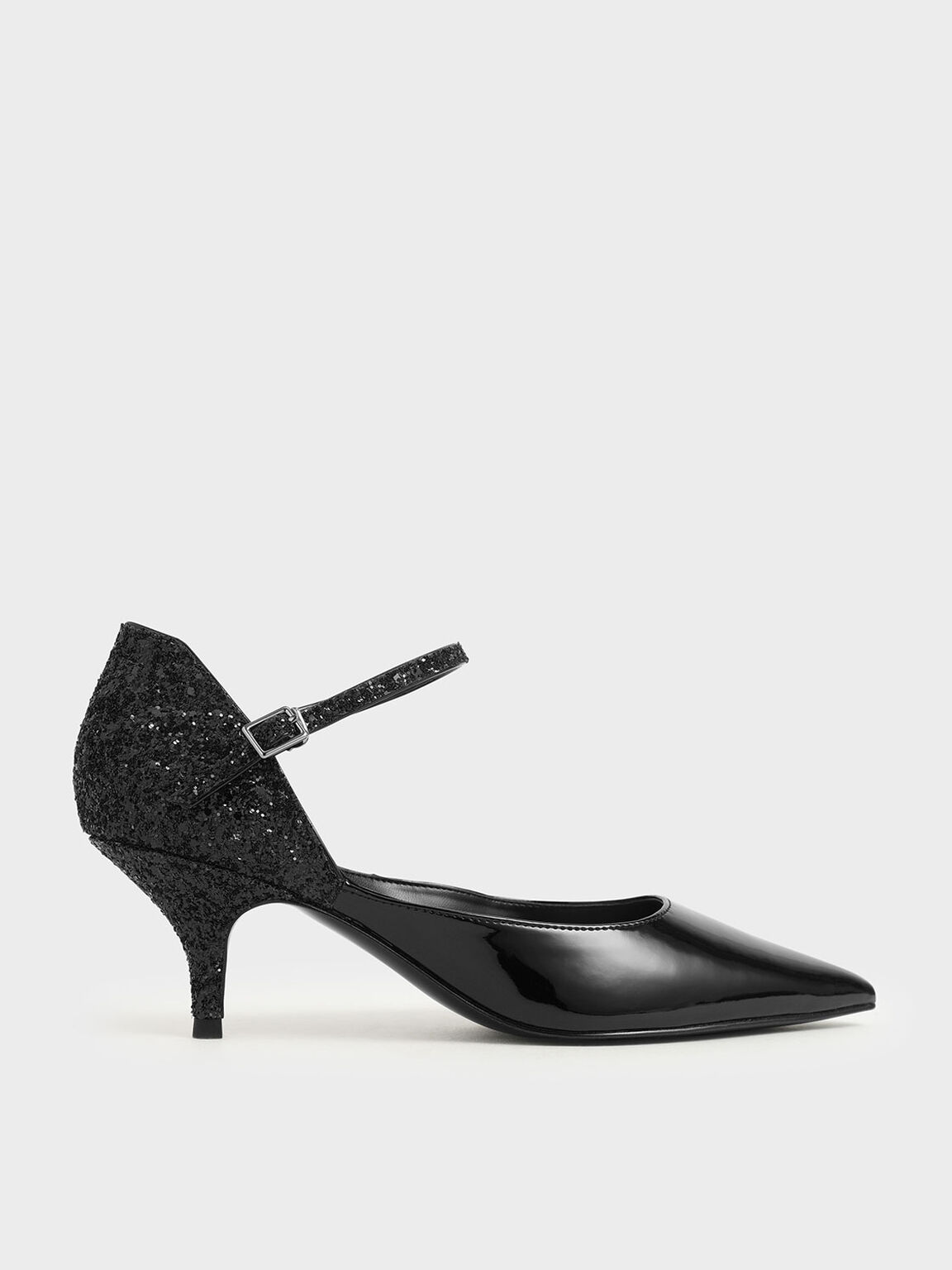 Patent Glitter Kitten Heel Pumps, Black, hi-res