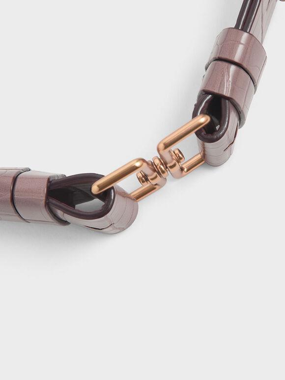 Croc-Effect Double Buckle Waist Belt, Mauve, hi-res
