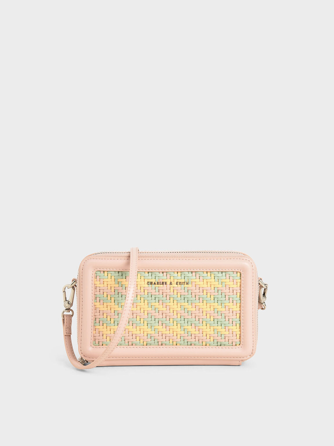 Woven Zip Around Wallet, Pink, hi-res