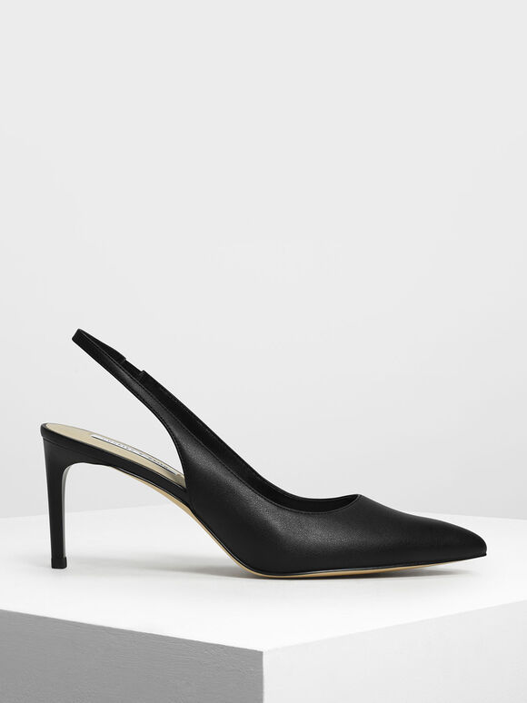 Pointed Toe Slingbacks, Black, hi-res