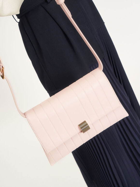 Panelled Crossbody Bag, Light Pink, hi-res