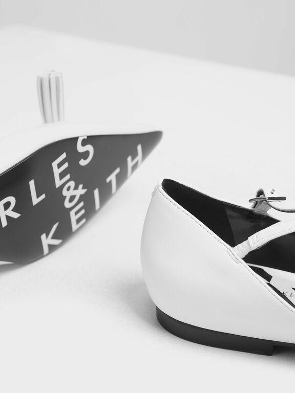Tassel Criss Cross Ballerina Flats, White