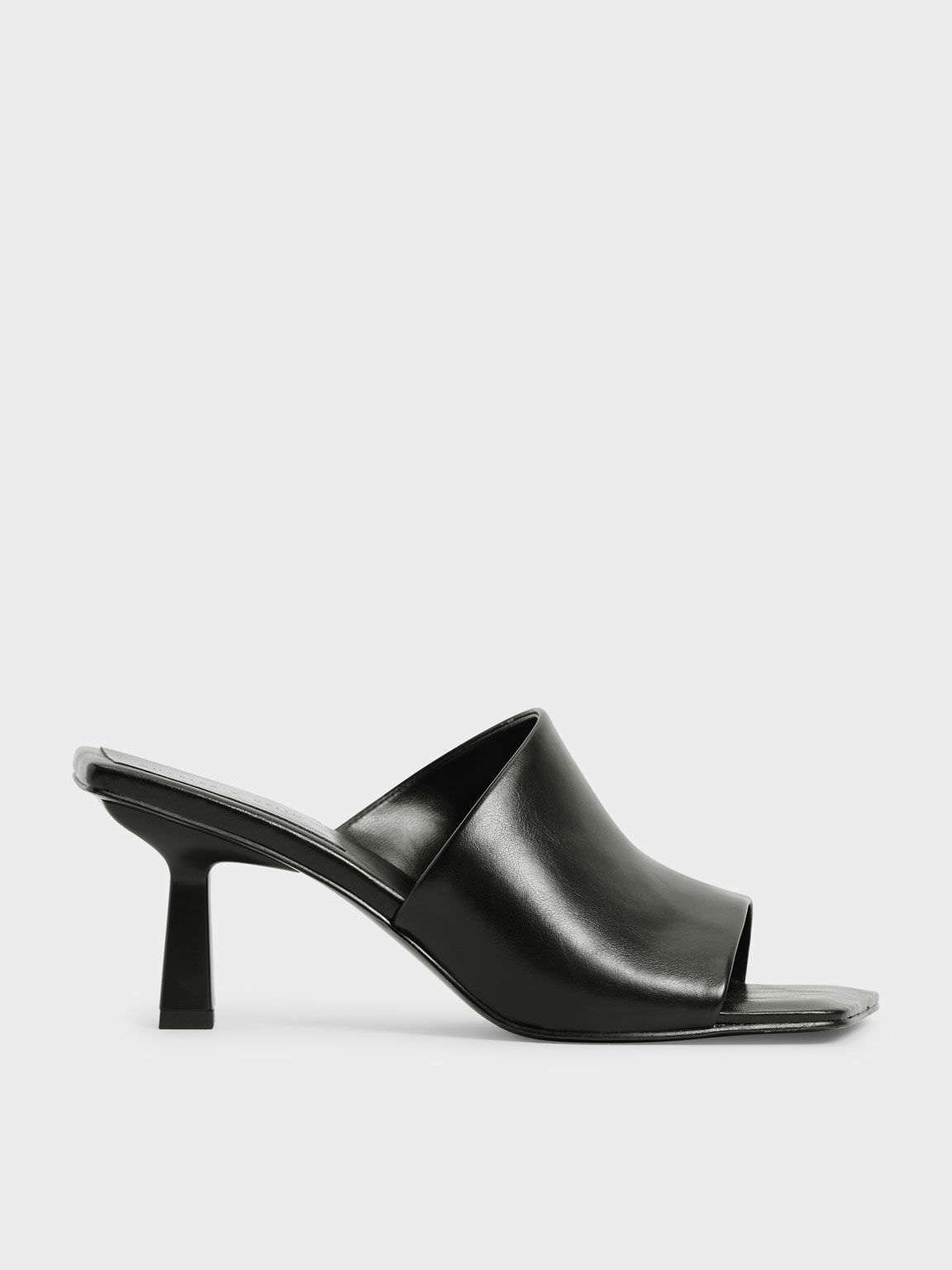 Asymmetric Square Toe Mules, Black, hi-res