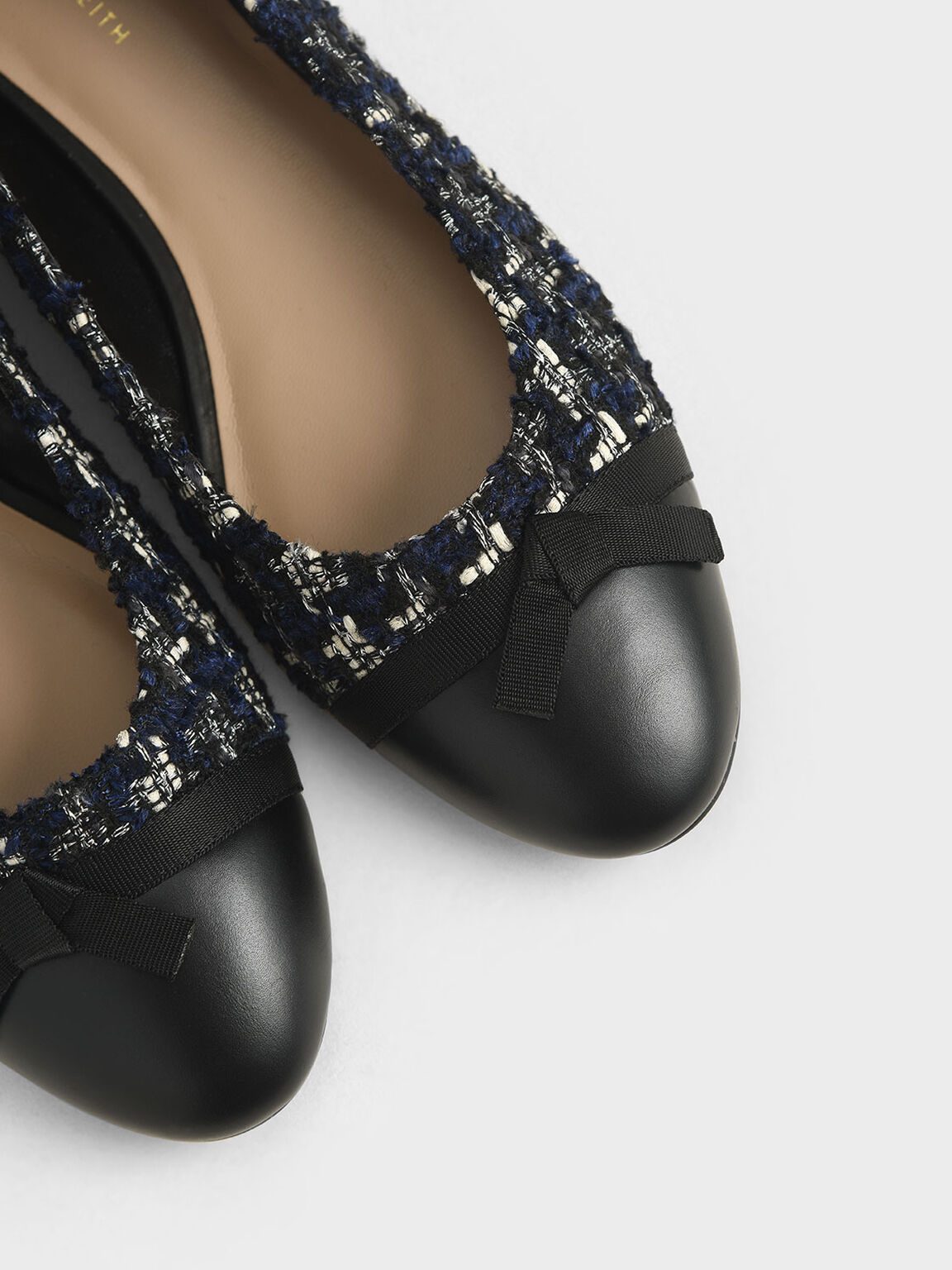 Tweed Ribbon Tie Ballet Pumps, Dark Blue, hi-res