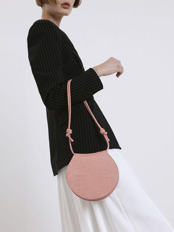 Semi Circle Croc-Effect Crossbody Bag, Pink