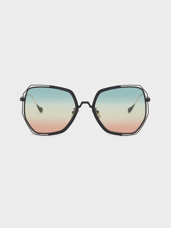 Multicoloured Gradient Lens Butterfly Sunglasses, Multi, hi-res