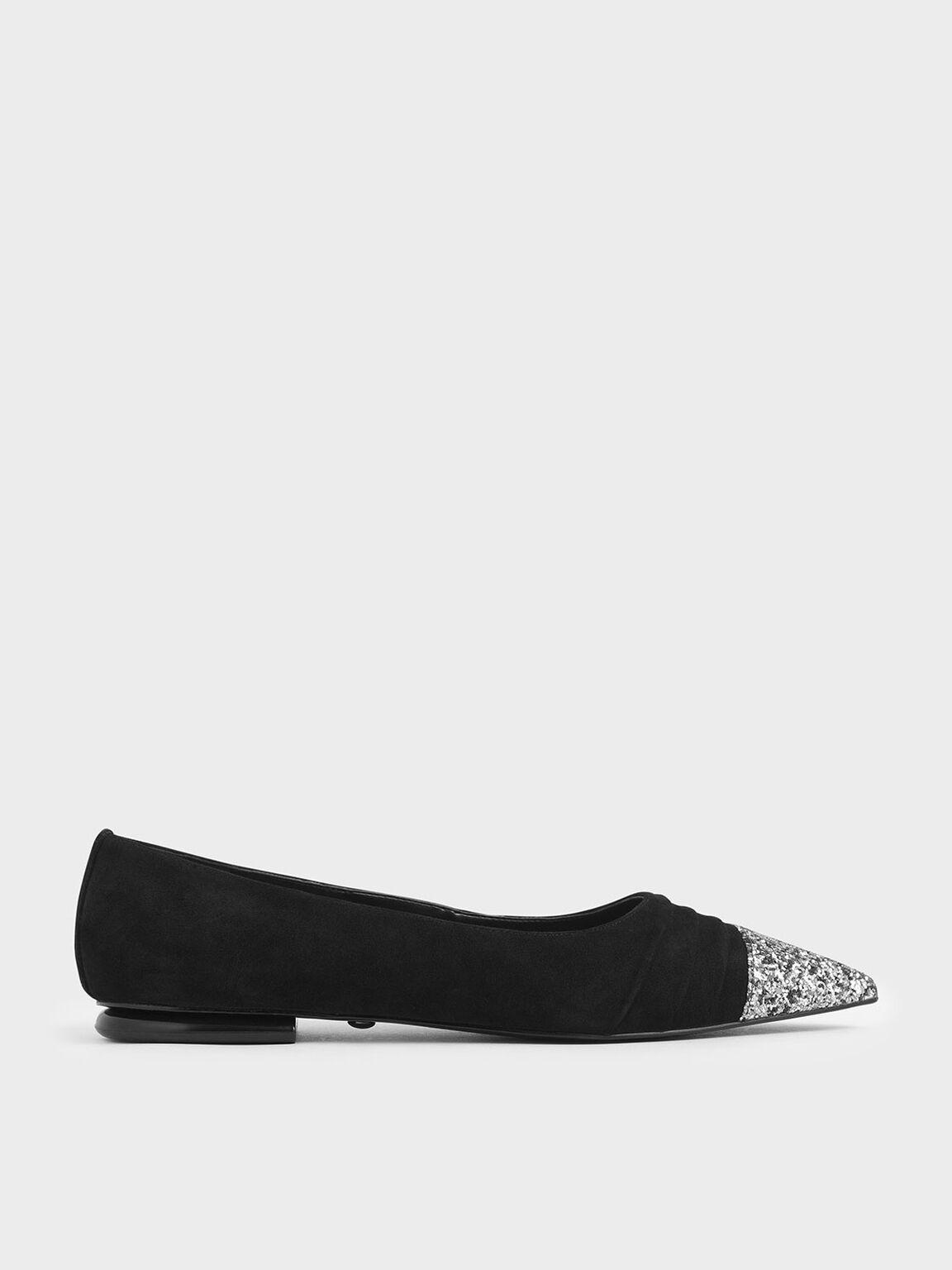 Glitter Ballerina Flats (Kid Suede), Black, hi-res