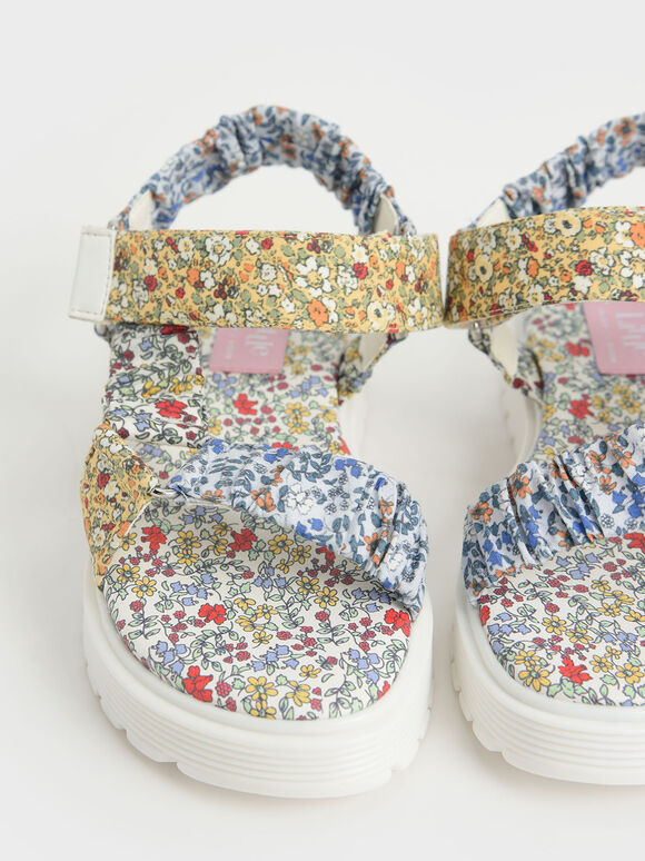 Girls' Printed Satin Sport Sandals, Multi, hi-res