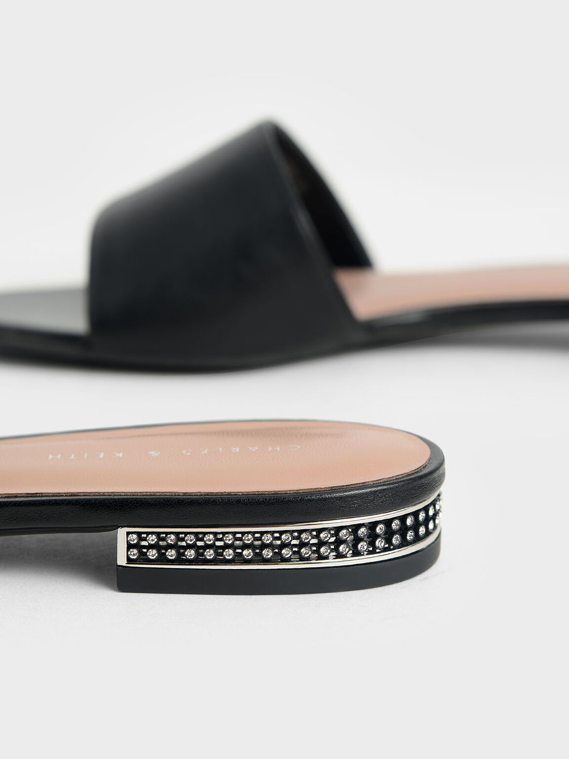 Gem-Encrusted Heel Slide Sandals, Black, hi-res