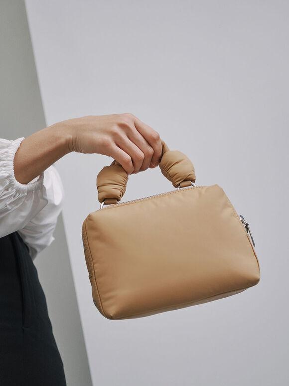 尼龍拉鍊手提包, 沙黃色, hi-res