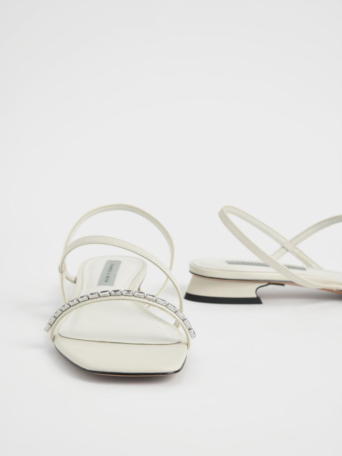 Gem-Embellished Strappy Sandals, Chalk, hi-res