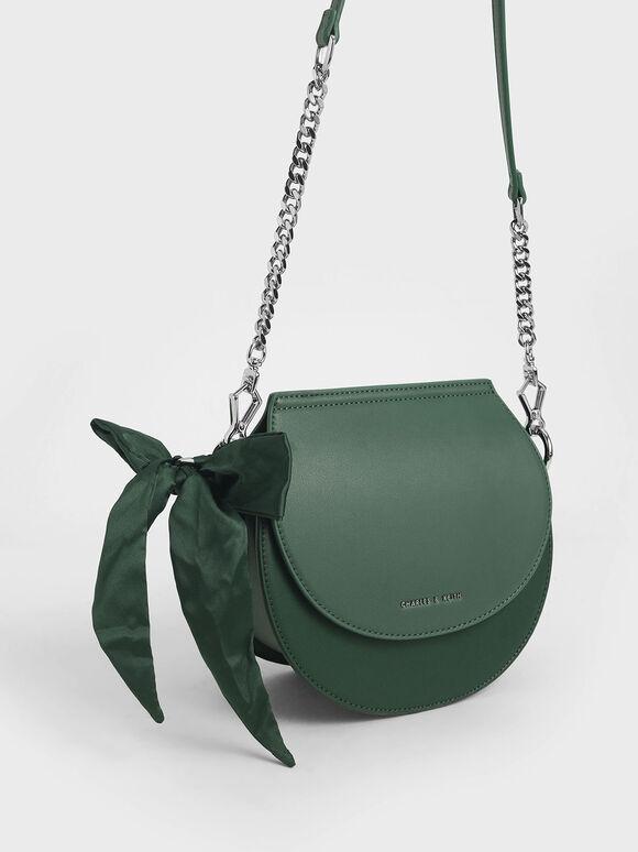 Satin Scarf Semi Circle Bag, Green, hi-res