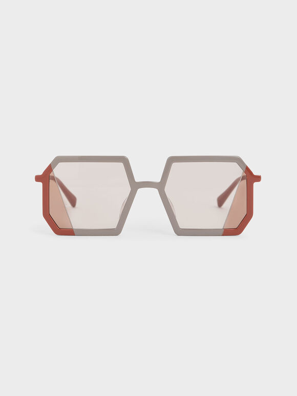 Two-Tone Geometric Sunglasses, Taupe, hi-res